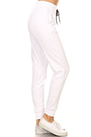 Leggings Depot Jga128-White-G-L Solid Jogger Track Pants W/Pockets, Large
