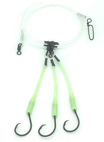 End Game Tackle Company Deep Drop Fishing Rig, 3 Mustad Demon Circle 6/0 Hooks With Glow Sleeve