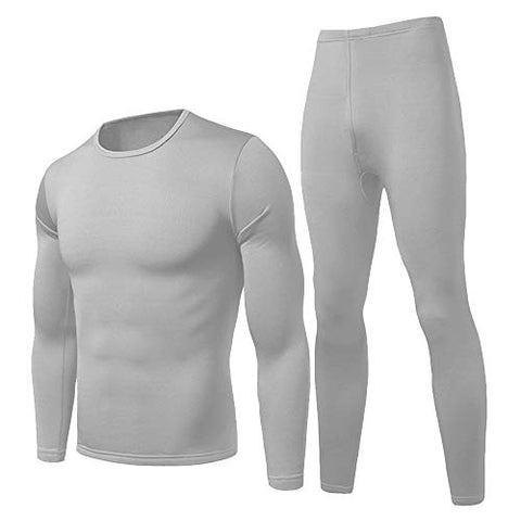 Herobiker Men Thermal Underwear Set Winer Skiing Warm Top &Amp; Bottom Thermal Long Johns Grey
