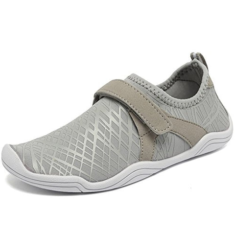 Fantiny Boys &Amp; Girls Water Shoes Lightweight Comfort Sole Easy Walking Athletic Slip On Aqua Sock(Toddler/Little Kid/Big Kid) Dksx-Grey-37
