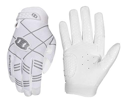 Seibertron B-A-R Pro 2.0 Signature Baseball/Softball Batting Gloves Super Grip Finger Fit For Youth (White, Xl)