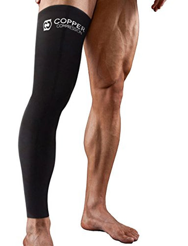 Copper Compression Full Leg Sleeve - Guaranteed Highest Copper Sleeves &Amp; Pants. Single Leg Pant. Tights Fit For Men And Women. Copper Knee Brace Thigh And Calf Support Socks. Basketball, Arthritis