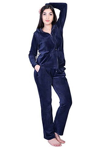 Dolcevida Womens Active Solid Velour Tracksuit Zip Up Hoodie And Sweat Pant Set (Navy, L)