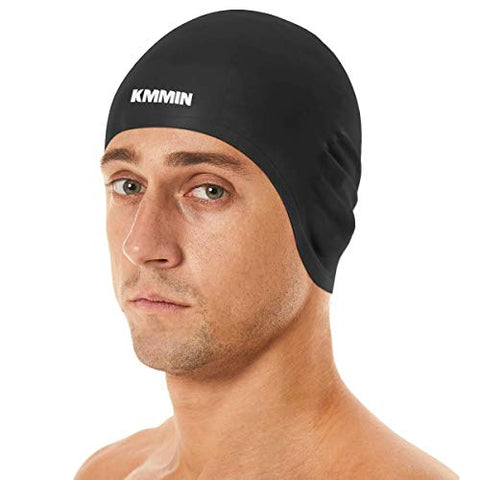Kmmin Swim Cap, 3D Ergonomic Design Swimming Cap For Women Men Long Hair Short Hair Silicone Adult Swim Cap With Great Elasticity Ear Protection(Black)