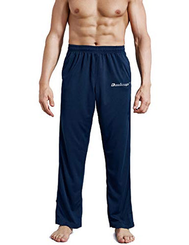 Duuluup Men Sport Pants - Quick Dry Active Sports Jersey Pants With Pockets(Blue,S)