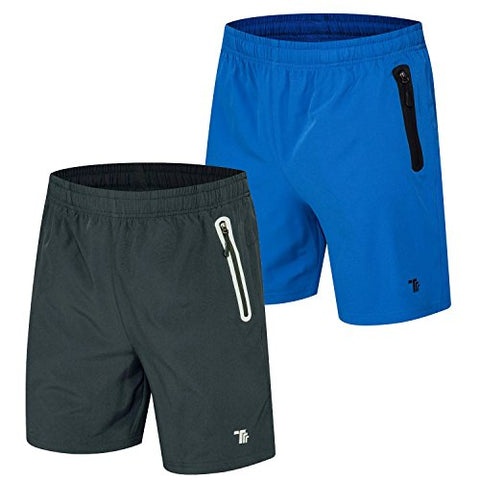 Tbmpoy Men'S Outdoor Casual Reflective Athletic Hiking Shorts(05,Dark Grey+Color Blue,Us Xl)