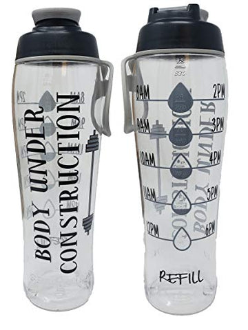 Bpa Free Reusable Water Bottle With Time Marker - Motivational Fitness Bottles - Hours Marked - Drink More Water Daily - Tracker Helps You Drink Water All Day -Made In Usa (Under Construction, 30 Oz.)