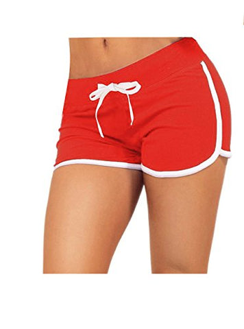 Little Beauty Women Running Yoga Athletic Booty Sport Shorts Red Xl