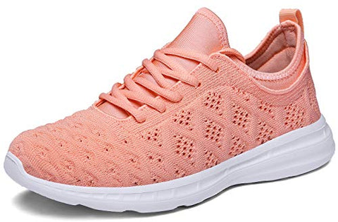 Joomra Women Running Shoes Tennis Fashion Gym Pink Ladies Lightweight Casual Jogging Walking Sport Athletic Sneakers Size 8.5