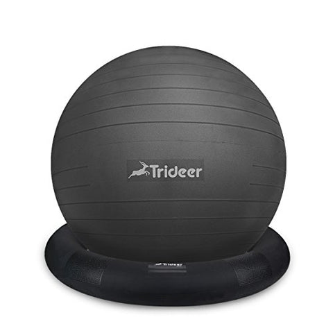 Trideer Ball Chair  Exercise Stability Yoga Ball With Base For Home And Office Desk, Ball Seat, Flexible Seating With Ring &Amp; Pump, Improves Balance, Back Pain, Core Strength &Amp; Postureball With Ring