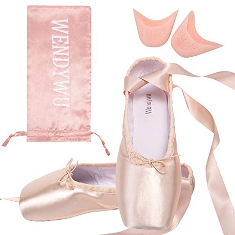 Wendy Wu Girls Womens Dance Shoe Pink Ballet Pointe Shoes (2.5, 1)
