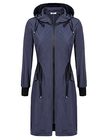 Elesol Womens Lightweight Long Windbreaker Hooded Waterproof Active Outdoor Rain Jacket Navy Blue Xl