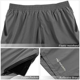 Mucubal Men'S Athletic Running Shorts Lightweight And Quick Dry Workout Shorts With Zipper Pockets(Grey)