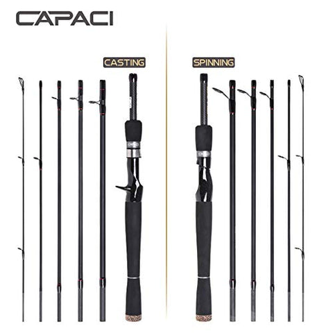 Capaci Portable Travel Casting Spinning Bass Fishing Rods Super Convenience 24 Ton Carbon Fiber Rod For Salt Fresh Water Comfortable Eva Handle 6 Pieces (Casting, 2.1M/6.89Ft)