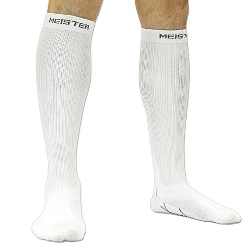 Meister Graduated 20-25Mmhg Compression Running Socks For Shin Splints (Pair) - White - Medium
