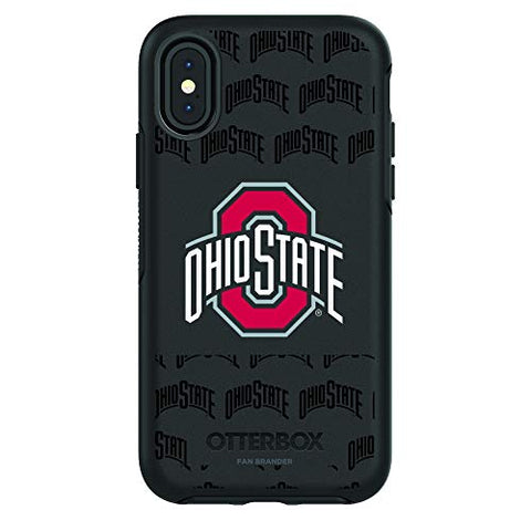 Fan Brander Ncaa Black Phone Case With School Logo And Repeating Wordmark Design, Compatible With Apple Iphone Xr With Otterbox Symmetry Series (Ohio State Buckeyes)