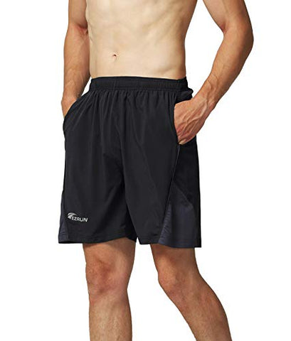 Vimini Men'S 7  Quick Dry Running Shorts Workout Sport Fitness Short With Liner Zip Pocket(Black,Xl)