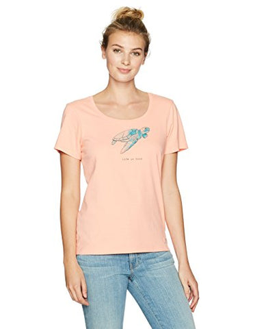 Life Is Good Women'S Crusher Scoop Sea Turtle T-Shirt, Chalky Peach, Medium