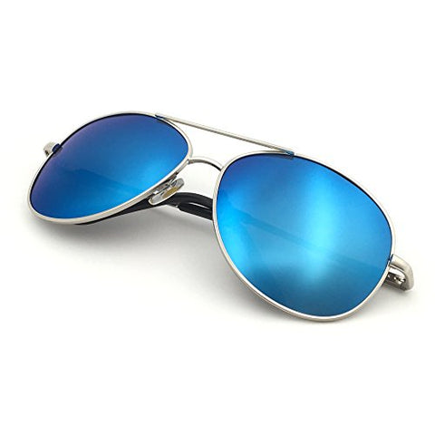 J+S Premium Military Style Classic Aviator Sunglasses, Polarized, 100% Uv Protection (Large Frame - Silver Frame/Blue Mirror Lens