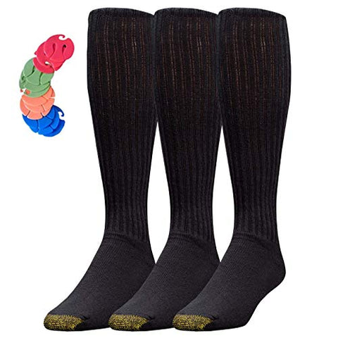 Men'S Ultra Tec Cotton Over-The-Calf Athletic Socks Veronz Sock Clips Included (Black, 3)