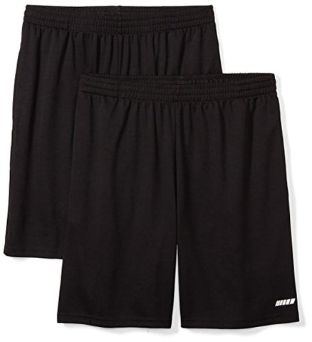 Amazon Essentials Mens Loose-Fit Performance Shorts, Black/Black, Large