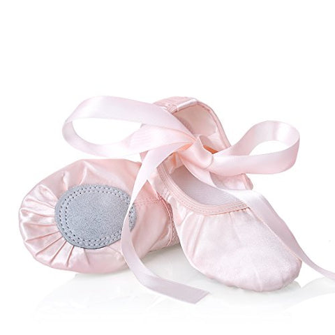 Girls Pink Ballet Dance Shoes Split Sole With Satin Ballet Slippers Flats Gymnastics Shoes Ba01 7 M Toddler