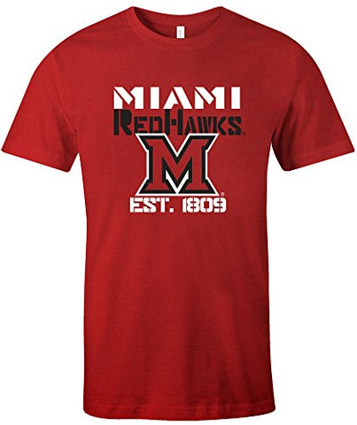 Ncaa Miami (Ohio) Red Hawks Est Stack Jersey Short Sleeve T-Shirt, Red,Large