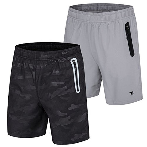 Tbmpoy Men'S Outdoor Casual Reflective Athletic Hiking Shorts(04,Black Print+Light Grey,Us L)