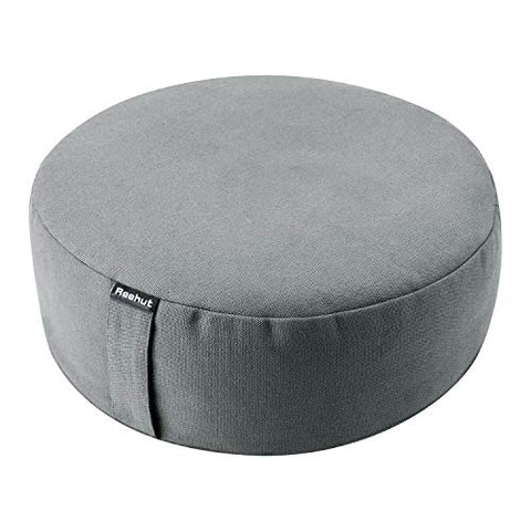 Reehut Zafu Yoga Meditation Cushion, Round Meditation Pillow Filled With Buckwheat, Zippered Organic Cotton Cover, Machine Washable - 4 Colors And 3 Sizes - (Dark Grey, 12 X12 X4.5 )