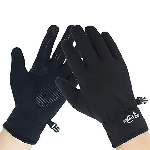 Windproof Anti-Slippery Softshell Touch Gloves - Outdoor Thermal Athletics Gloves Cycling, Running, Unisex Men (2 Extra Large)