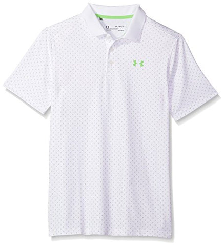 Under Armour Boys' Performance Novelty Polo, White (100)/Moroccan Blue, Youth Small