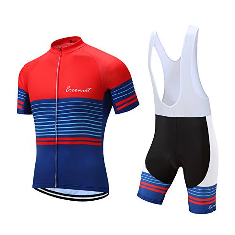 Coconut Pro Team Men'S Cycling Jersey Bib Shorts With 3D Padded (Medium, Red/Blue)