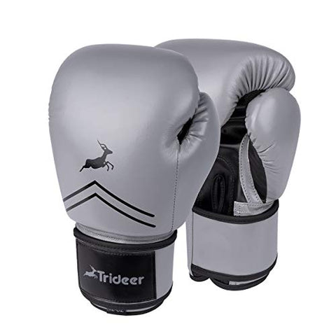 Trideer Pro Grade Boxing Gloves, Kickboxing Bagwork Gel Sparring Training Gloves, Muay Thai Style Punching Bag Mitts, Fight Gloves Men &Amp; Women (Gray &Amp; Black, 14 Oz)