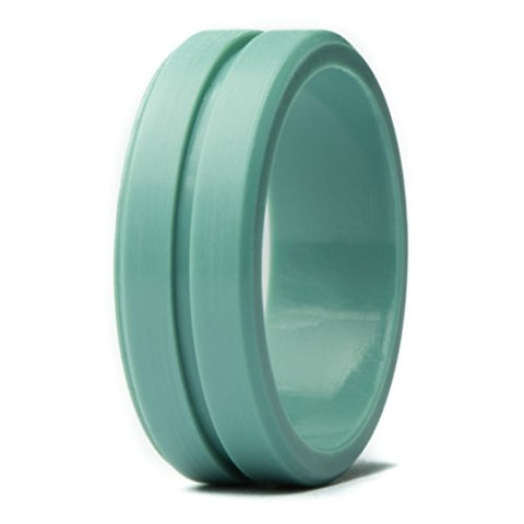Unii Silicone Wedding Ring | Safety Rubber Wedding Band | Athletic Ring For Active Men | Thin Groove Ring 7Mm Wide | Best Alternative For Work, Mechanics, Sports, Workout Ring | Turquoise - Size 9