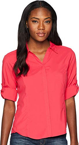 Royal Robbins Women'S Expedition Dry Stretch 3/4 Sleeve Shirt, Rose Red, Small