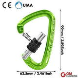 Gm Climbing Ultra-Light Screw Locking Carabiner Ce Uiaa Certified Green
