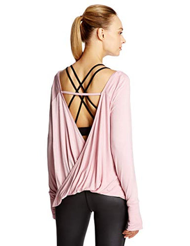 7Goals Women'S Long Sleeves Shirts Open Back Loose Workout Yoga Tops, Dusty Pink, L