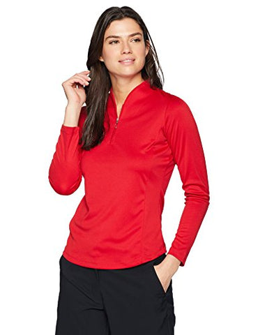 Greg Norman Women'S Long Sleeve Zip Tulip Neck, British Red, X-Large