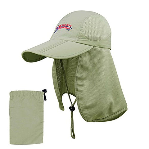 American Outdoorsman  The Bait And Tackle  Folding Bill Cap W/ Mesh Flap Khaki