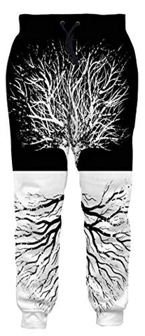 1980S Adult Unisex White Vintage Tree Sketch Joggers Printing Elastic Waist Tracksuit Sweatpants Sports Gym Leggings Jogger Pants For Yougth Spring Summer Active Windbreaker Pants M