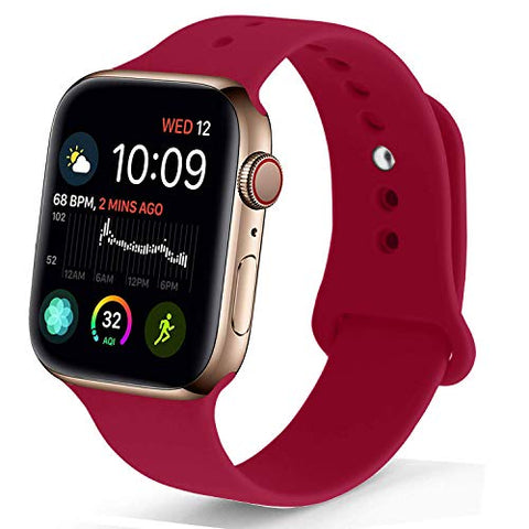 Nukelolo Sport Band Compatible With Apple Watch 42Mm 44Mm, Soft Silicone Replacement Strap Compatible For Apple Watch Series 4/3/2/1 [Rose Red Color In S/M Size]