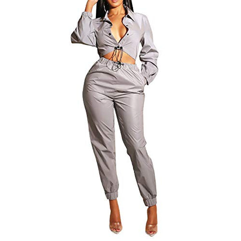 2 Piece Outfits Tracksuit Button Down Sweatpants Set Bodycon Jumpsuits Gray Xl