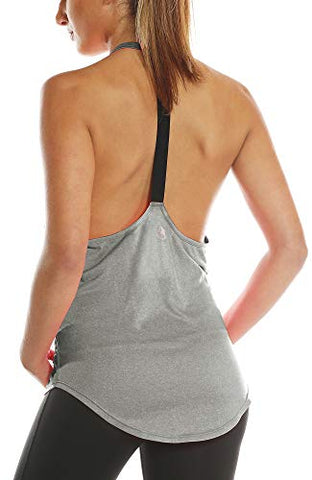 Icyzone Workout Tank Tops For Women - Athletic Yoga Tops, T-Back Running Tank Top (M, Grey)
