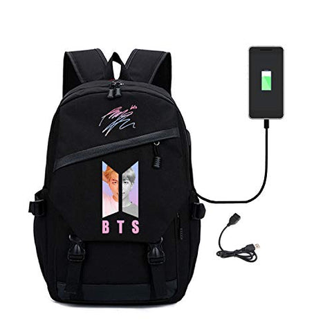 Kpop Bts Love Yourself Student Backpack With Usb Charging Port Daypack Canvas College Bag