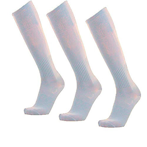 Unisex Athletic Knee High Breathable Compression Solid Tube Soccer Football Sport Socks 3/12 Pairs  (White-Unisex 3 Pairs)