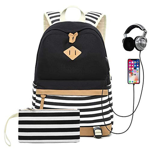 Canvas Backpack 14  Laptop Backpack With Usb Charger Port Travel Daypack Bookbag For Women, Black