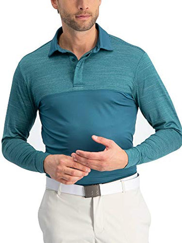Jolt Gear Long Sleeve Polo Shirts For Men - Mens Long Sleeve Golf Polos - Dry Fit Fabric