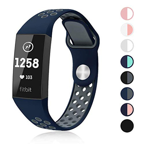 Swees Silicone Sport Bands Compatible Fitbit Charge 3 &Amp; Charge 3 Se, Soft Breathable Sport Strap With Air Holes Replacement Wristband For Women Men Small &Amp; Large, Black, Grey, Navy Blue, Pink, Teal