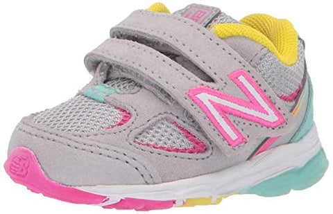 New Balance Girls' 888V2 Hook And Loop Running Shoe Grey/Rainbow 7 Xw Us Toddler