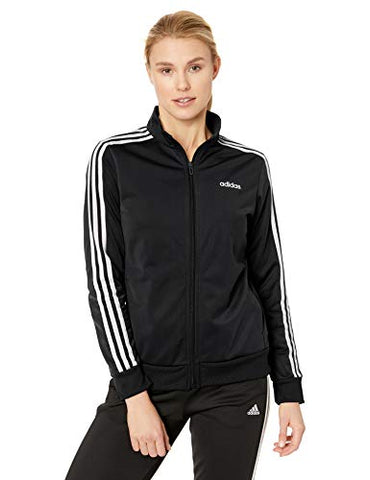 Adidas Womens Essentials 3-Stripes Tricot Track Jacket, Black/White, Large